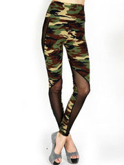 Camo Mesh Panel High Waist Leggings