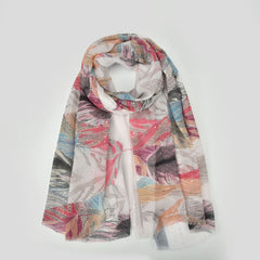 Sequins Rose Floral Print Scarf Women