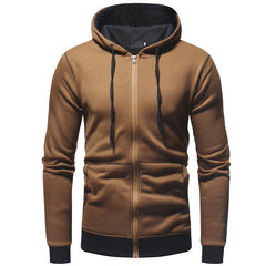 Men's Casual Slim Zipper Cardigan Sweater Classic Hem Color Matching