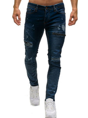 Zipper Destroy Wash Ripped Jeans