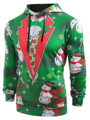 Faux Collar Snowmen Candy Printed Christmas Hoodie