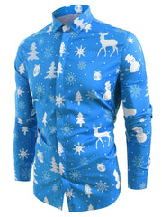 Christmas Elements Print Hem Curved Button Up Shirt