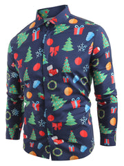 Christmas Elements Print Hem Curved Long Sleeve Shirt