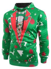 Christmas Patterns Printed Pullover Hoodie