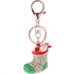 Keychain Accessories Santa Claus Rhinestone Moon Shoes Winter Pendant