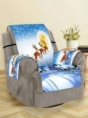 Father Christmas Elk Moon Pattern Couch Cover