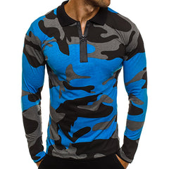 Men's Zip Lapel Long Sleeve Camouflage Print T-Shirt
