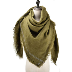 Women Autumn  Winter monochrome Lnlaid Wire Scarf Square Soft And up Shawl