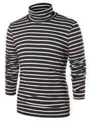 High Collar Striped Long Sleeve T-shirt