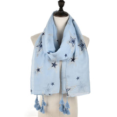 Ma'am Autumn and Winter Fashion Scarf Five-pointed star Hanging Silk scarf