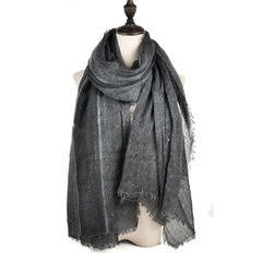 Women Autumn and Winter Monochrome Scarf Wool Sequins Decorate Tassels Shawl
