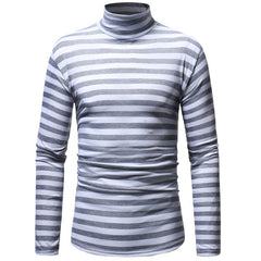 Men'sCasual Turtleneck Striped Long Sleeve T-Shirt