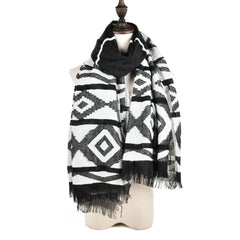 Ladies Winter Style Warm Scarf Geometric Figure Long Tassel Fashion Scarf