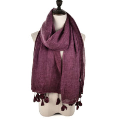 Ladies Autumn Winter Fashion Single Colored Scarf Soft Cotton Fringed Shawl