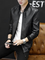 1051 Autumn And Winter Men Fashion Simple Slim PU Leather Jacket