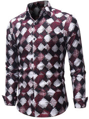Rhombus Pattern Long Sleeve Shirt