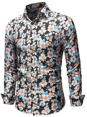 Casual Allover Flowers Printed Long Sleeves Shirt