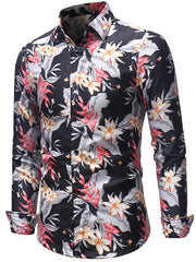 Casual Flower Print Long Sleeves Shirt