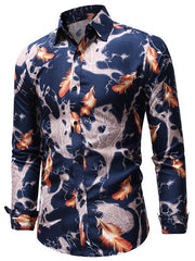 Feathers Pattern Long Sleeve Shirt
