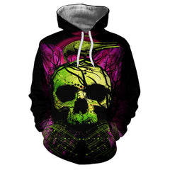 Casual Fashion 3D Printed Bird Skull Head Men's Hoodie