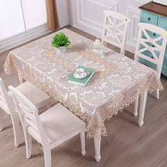 Fashion Home Table Decoration Lace Fabric Embroider Rectangular Table Cloth
