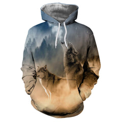 Casual Men's Sweater Digital Print Wolf Figure Hoodie