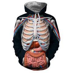 Fashion Trend Men's Hooded Sweater Digital Print Human Internal Body Model Patte