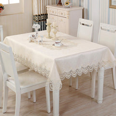 Fashion Home Table Decoration Lace Satin Drill Jacquard Rectangular Table Cloth