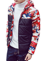 Men's Camouflage Sleeves Color Matching Quilted Jacket