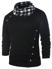 Checked Pile Heap Collar Long Sleeve T-shirt