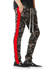 Side Stripe Hem Zipper Camo Drawstring Track Pants