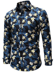 Flowers Pattern Long Sleeves Casual Shirt