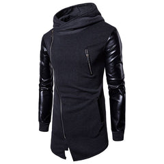 Men's Fashion Sleeves Leather Irregular Hoodies