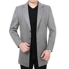 Men'S Casual Long Windbreaker Woolen Coat