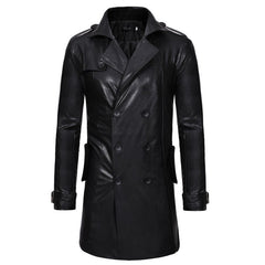 2018 New Double-Breasted Men'S Casual Slim Long Leather Trench Coat