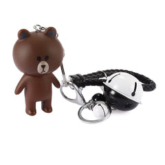 Rotatable Head Bear Key Chain with Braided Rope Style Holder Decor for Bags