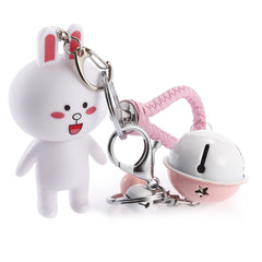 Rotatable Head Rabbit Key Chain with Rings Braided Rope Style Holder Decor for Bags