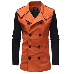 2018 New Men'S Fashion Stitching Double-Breasted Double-Sided Slim Trench Coat