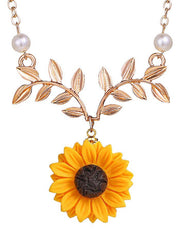 Sunflower and Branch Pattern Necklace