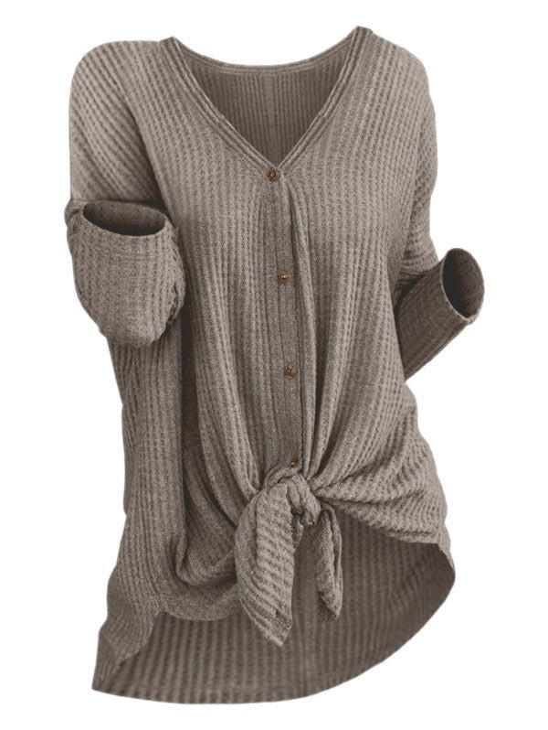 Knit Knotted Button Up Cardigan