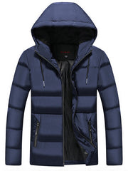 Men Leisure Comfortable Warm Hooded Zipper Down Coat