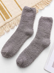 Casual Solid Color Fuzzy Floor Socks