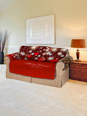 Merry Christmas Snowflake Ball Pattern Couch Cover
