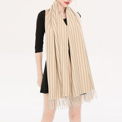 Cashmere Thick Winter Long Scarf Tassel Soft Fashion Striped Women Shawl