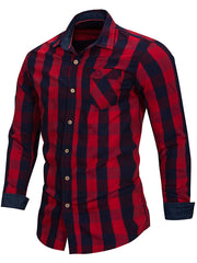 Plaid Pattern Turn Down Collar Shirt