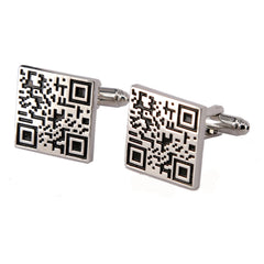 Alloy Material Paint Process Two-Dimensional Code Pattern Men Cufflinks