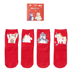 Personality Cartoon Combination Female Fuzzy Socks 4 Pair