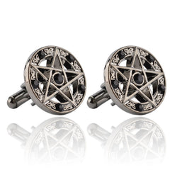Stylish French Cufflinks with Five-Pointed Stars and Diamonds