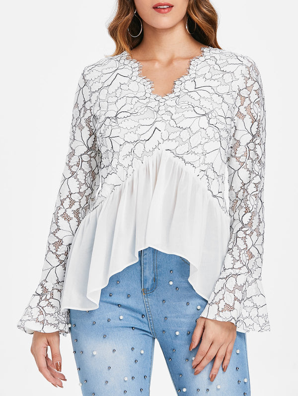 Lace Panel Flare Sleeve Top