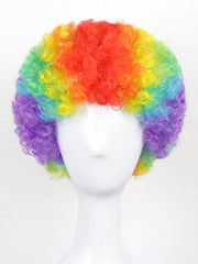 Football Fan Short Rainbow Afro Curly Party Synthetic Wig